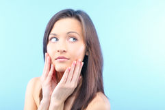 Beautiful woman is looking sideways Royalty Free Stock Photography