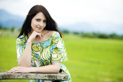 Beautiful woman looking thoughtfully at the camera Stock Image