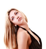 Beautiful woman looking up. Isolated on white Royalty Free Stock Photography