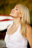 Beautiful woman looking up. Young beautiful woman looking up Royalty Free Stock Photography