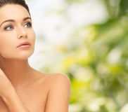 Beautiful woman looking up. Beauty and health concept - beautiful woman looking up Royalty Free Stock Photos