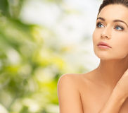 Beautiful woman looking up. Beauty and health concept - beautiful woman looking up Royalty Free Stock Images