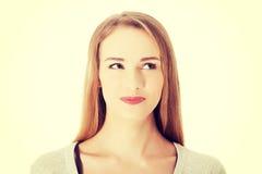 Beautiful woman looking up. Royalty Free Stock Photo