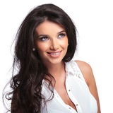 Beautiful woman looks up Stock Photography