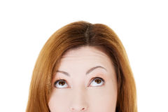Beautiful woman lookung up. Cut out. Royalty Free Stock Image