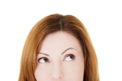 Beautiful woman lookung up. Cut out. Royalty Free Stock Photos
