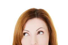 Beautiful woman lookung up. Cut out. Royalty Free Stock Images
