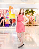 Beautiful woman with a lot of shopping bags Royalty Free Stock Photos