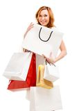 Beautiful woman with a lot of shopping bags Stock Images