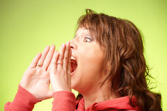 Beautiful woman loud screaming Stock Photos