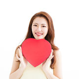 Beautiful woman in love and holding heart shape Royalty Free Stock Photo