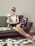Beautiful woman with love letter Royalty Free Stock Images