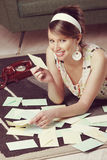 Beautiful woman with love letter Royalty Free Stock Image