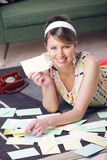 Beautiful woman with love letter Stock Photos