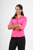Beautiful woman with lovely smile dressed stylish Stock Photos