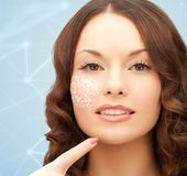 Beautiful woman with low poly shape projection Royalty Free Stock Photography
