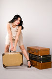 Beautiful woman with   luggage Stock Photography