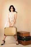Beautiful woman with  luggage Royalty Free Stock Photo