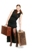 Beautiful woman with luggage Stock Photos
