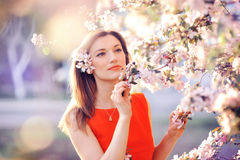Beautiful woman in a lush garden in the spring Stock Image