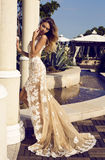 Beautiful woman in luxorious lace dress posing at park Royalty Free Stock Images