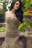 Beautiful woman in luxurious dress posing at summer park Royalty Free Stock Photo