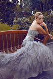 Beautiful woman in luxurious dress sitting on bench in park Stock Images