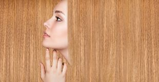 Beautiful woman with luxurious long hair. Beautiful woman with luxurious long hair as background. Beautiful long smooth shiny straight hair. Hairstyle concept royalty free stock image