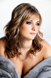 Beautiful Woman in Luxury Fur Coat. Royalty Free Stock Images