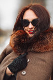 Beautiful Woman in Luxury Fur Coat. Stylish brunette woman in brown coat.  Stock Images