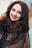 Beautiful Woman in Luxury Fur Coat. Stylish brunette woman in brown coat. young sensual seductive woman with royalty free stock images