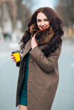 Beautiful Woman in Luxury Fur Coat. Stylish brunette woman in brown coat. young sensual seductive woman with royalty free stock image