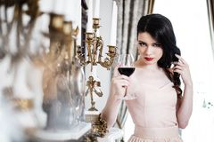 Beautiful woman in luxury interior Royalty Free Stock Image