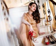Beautiful woman in luxury interior Royalty Free Stock Photo