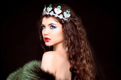 Beautiful woman luxury portrait with long hair in fur coat. Jewe. Lry and Beauty. Fashion art photo Stock Image