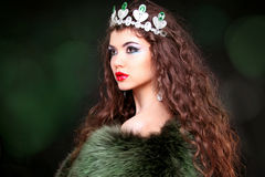 Beautiful woman luxury portrait with long hair in fur coat. Jewe Royalty Free Stock Photography