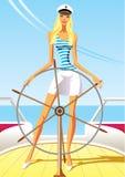 Beautiful woman on the luxury yacht Stock Image