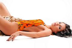 Beautiful woman lying Royalty Free Stock Images