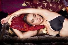 Beautiful Woman Lying On Bed Royalty Free Stock Photos