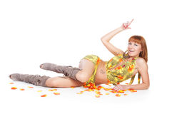 Beautiful woman lying on the floor Stock Photography
