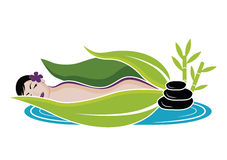 Beautiful woman lying during massage. Spa and wellnes theme vector illustration