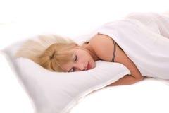 Beautiful woman lying and sleep stock photo