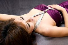 Beautiful woman lying in sofa Stock Photo