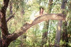 Beautiful woman lying  on tree in forest Stock Photo