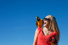 Beautiful Woman with Macaw Parrots Royalty Free Stock Photography