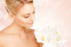 Beautiful woman with madonna lily Stock Photography