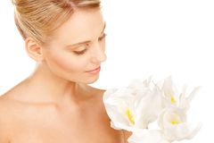 Beautiful woman with madonna lily Royalty Free Stock Images