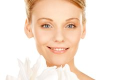 Beautiful woman with madonna lily Stock Image
