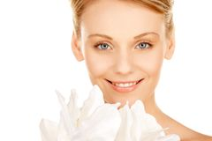 Beautiful woman with madonna lily Royalty Free Stock Photography