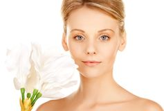 Beautiful woman with madonna lily Stock Photo